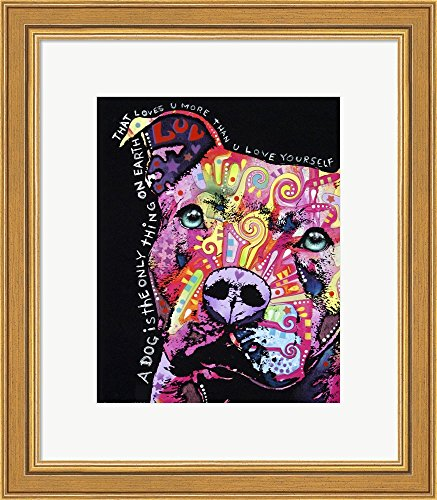 Thoughtful Pit Bull 1 by Dean Russo Framed Art Print Wall Picture, Gold Frame with Hanging Cleat, 14 x 16 inches