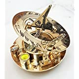 Brass Sundial Compass Antique Style Nautical Pocket Compass F. L. West London Polished Compass