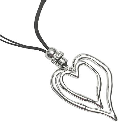 Lagenlook silver large heart pendant & cubic zirconia black leather suede fashion jewellery necklace YyNvktERP