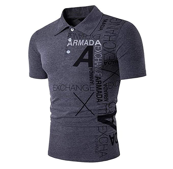 Camisas Polo Hombres Hombres Verano Negocio Top Fashion Mode De Marca  Solapa Letra Delgada A Print 2204a107b1b69