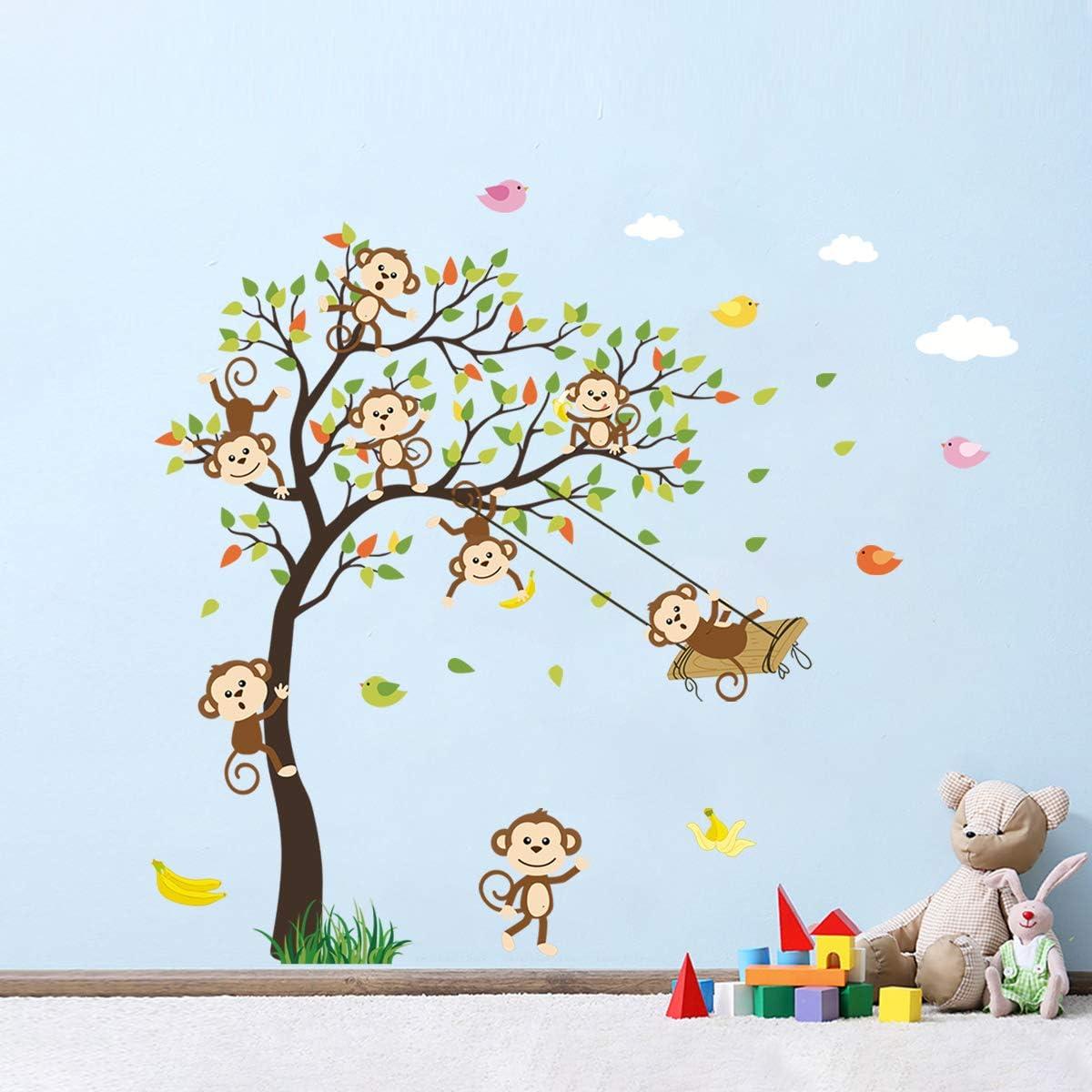 Decalmile Monkey Climbing Tree Wall Decals Jungle Animals Kids Wall Stickers Baby Nursery Childrens Bedroom Wall Decor Nursery Baby Urbytus Com