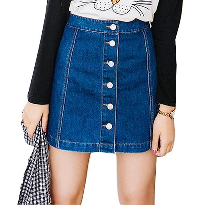 Damen Denim Röcke Mode Hoch Taillierte Knöpfe Slim Fit A