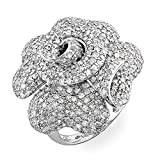 3.65 Carat (ctw) 14K White Gold Round Diamond Ladies Cocktail Blossom Right Hand Ring (Size 7)