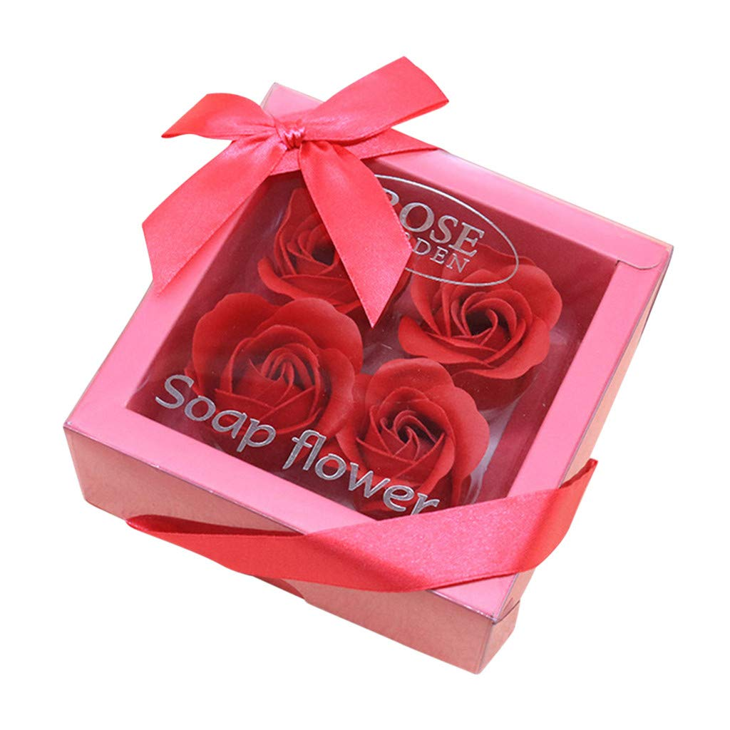 Amiley Bath Soap Rose Flower, Natural Preserved Rose Soap in Gift Box, Gift for Anniversary Birthday Wedding Mother's Day Valentine's Day,4Pcs (H)