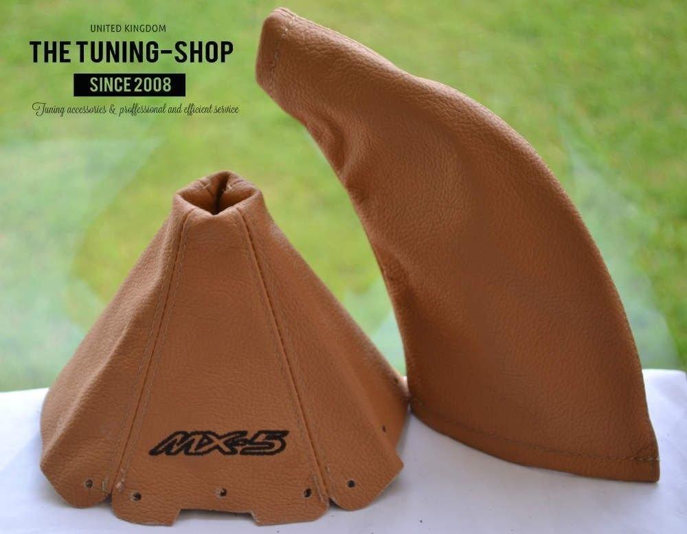 The Tuning-Shop Ltd For Mazda Mx-5 Mk1 NA 1989-97 Shift & E Brake Boot Tan Leather Black Mx-5 Edition Embroidery