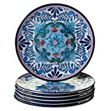 Certified International Talavera 9'' Salad/Dessert Plate (Set of 6), Multicolor