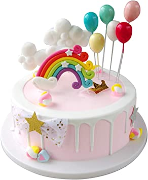 Astonishing Maygone Clouds Rainbow And Balloons Cake Toppers Set Kids Baby Personalised Birthday Cards Veneteletsinfo