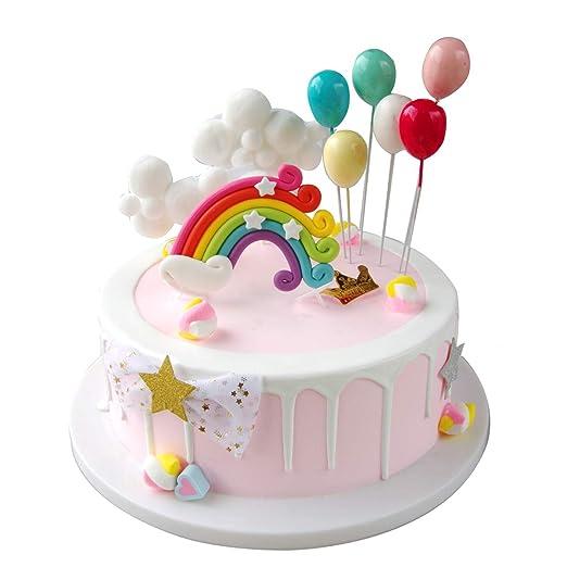 Maywent Clouds - Juego de decoración para tarta de cumpleaños con diseño de arcoíris y globos