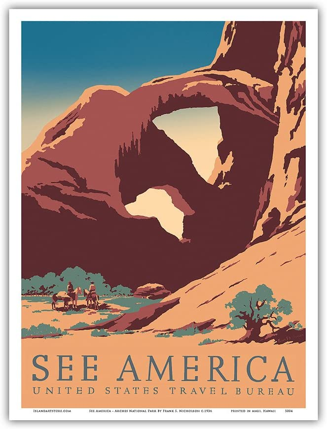 Arches National Park WPA-Style Vintage-Style Travel Poster 12x18 Nevada USA