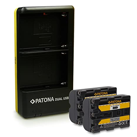 PATONA Dual Cargador + 2x Batería NP-FM500H para Sony DSLR-A200 ...