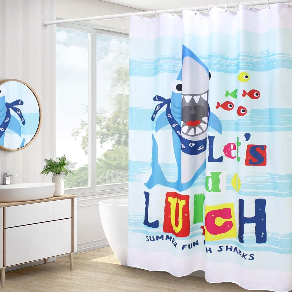 AooHome Cute Animal Pattern Shower Curtain, Shark Decor Polyester Bathroom Curtain with Hooks, Heavy Duty, Weighted Hem, Waterproof, Blue, 70W x 78L Inch