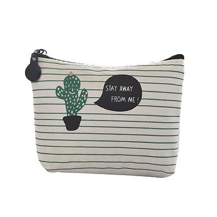 JUNGEN Cartera de Mujer de Lindo Monedero Impresión del patrón del cacto Monedero Mini Billetera Bolso de Llave Bolso para niñas