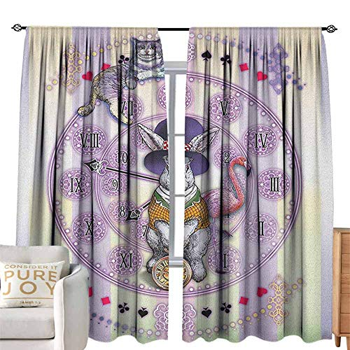 Andrea Sam Tie-Up Window Curtain Animal,Alice in Wonderland Rabbit and Cat Fiction Story Novel Child Display Story, Lilac Pale Yellow Adjustable Tie Up,W84 x L84 inch