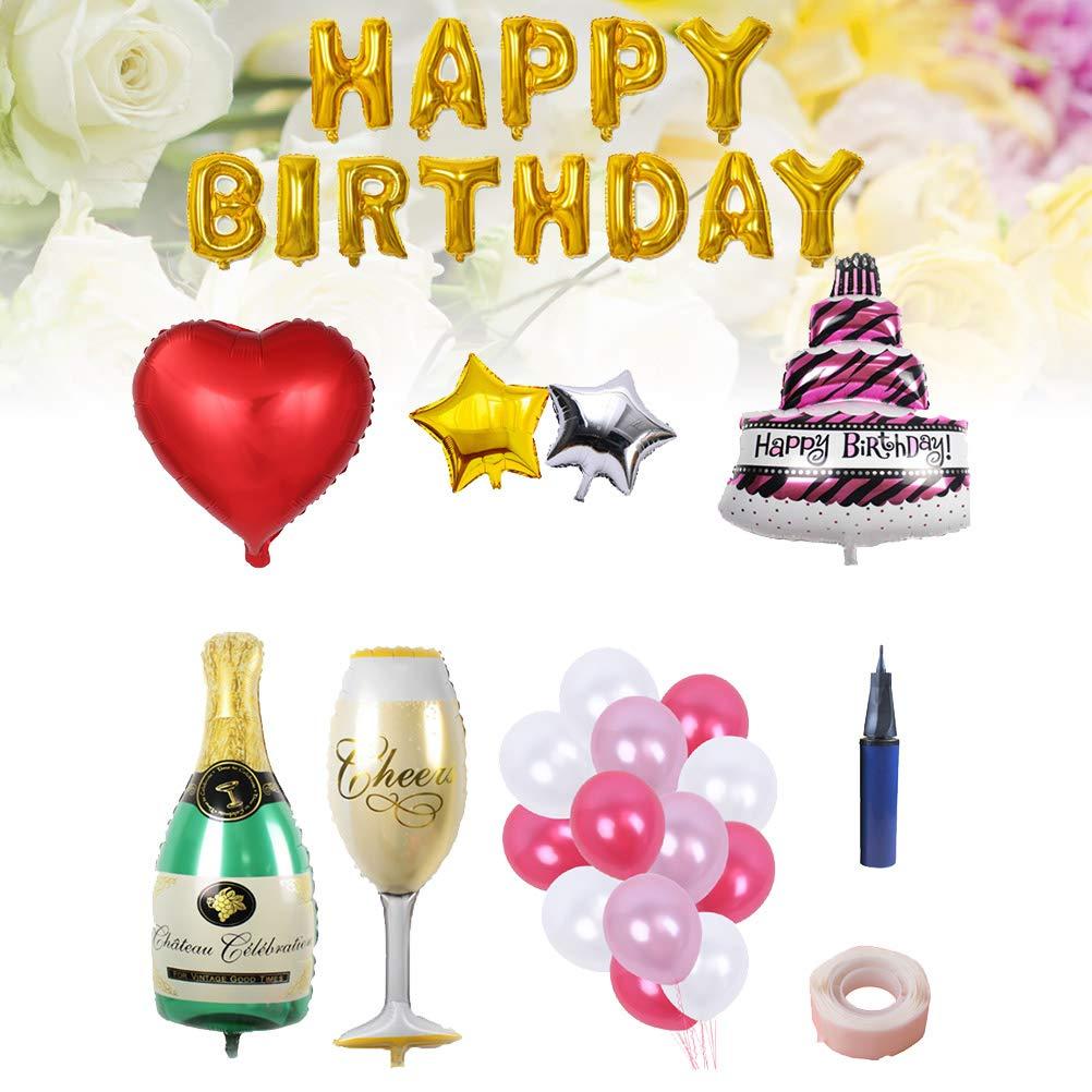BESTOYARD Happy Birthday Cake Champagne Cup Bottle Foil Balloon Birthday Party Pack by BESTOYARD (Image #5)