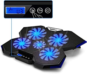 TopMate C7 Laptop Cooling Pad Up to 17 Inch Gaming Laptop Cooler | 5 Quiet Fans with Blue Led Lights 2 USB Ports | Ocean Blue Trim Design