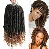 8 pcs/Pack Ombre Crochet Curly Wave Havana Mambo Senegalese Twist Hair Extension For Women 12 Roots/Pcs Synthetic Fluffy 12 Inch Spring Twist Crochet Braiding Hair (Black&Light Brown(1B/27#))