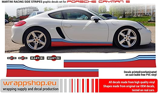 Wrappshop Grafik Aufkleber Set Porsche Cayman S Martini Streifen Seitendesign Auto