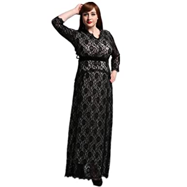Judy Dre am 3/4 Sleeve Lace Plus Size Evening Dresses Womens V-Neck