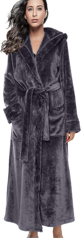 BELLOO Unisex Nightwear Flannel Dressing Gown Hooded Housecoat Full Long