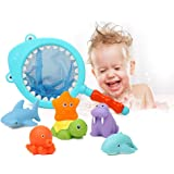 Colorful Bath Water Toys for Toddlers & Boys & Girls - Beiens Floating Animals Squirters Toys/ Fishing Set with Spoon-net, Baby Bathroom Pool Accessory (7-Pack)