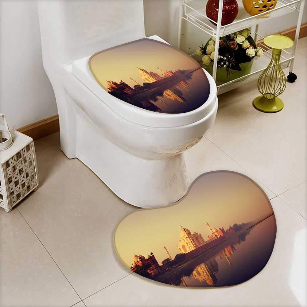 Analisahome 2 Piece Toilet Cover set Taj Mahal India Seven Wonders Concept in Bathroom Accessories