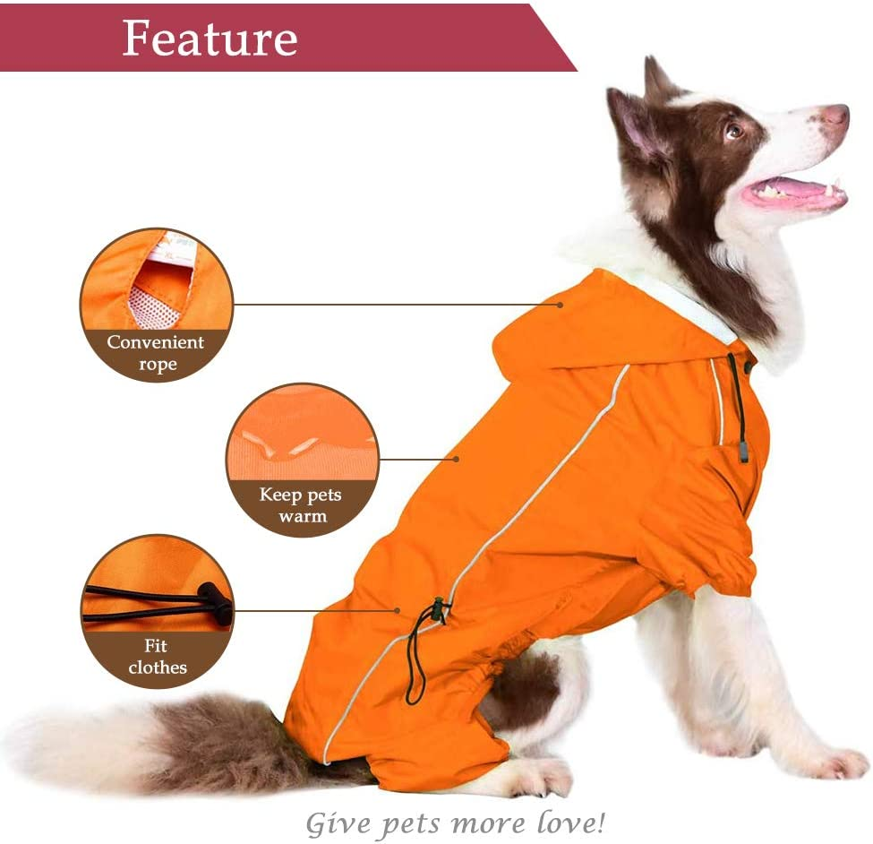 Companet Summer Comfort Breathable Waterproof Four Feet Raincoat for Large Dog/…