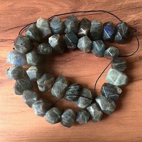 Natural Labradorite Bead Chunky Beads Faceted Natural Crystal Bead Middle Drilled Loose Stone Beads 7 inches Strand