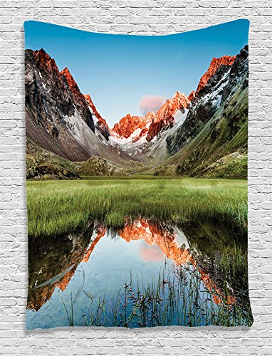 Ambesonne Cottage Decor Collection, Snowy Peaks Mirroring in a Lake Surrounded by Meadow Below Stubai Alps Austria Picture, Bedroom Living Room Dorm Wall Hanging Tapestry, Dark Orange Green (Party City In Coral Springs)