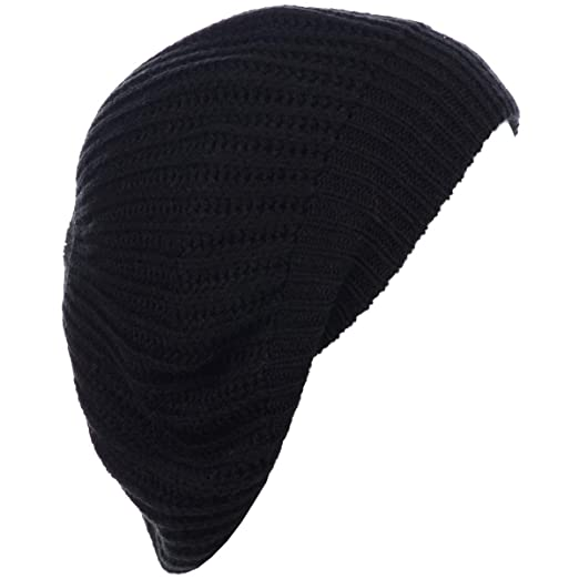 2db23a01e6127 BYOS Ladies Winter Solid Chic Slouchy Ribbed Crochet Knit Beret Beanie Hat W  WO Flower