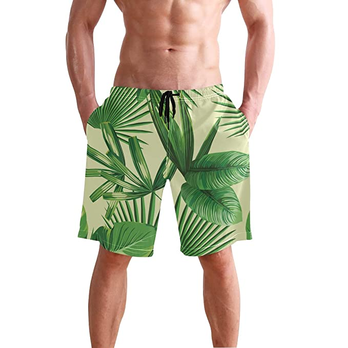 d760079693 YUIHOME Mens Tropical Palm Leaves Swim Trunks Quick Dry Beach Wear Shorts  Mesh Lining Swimwear S