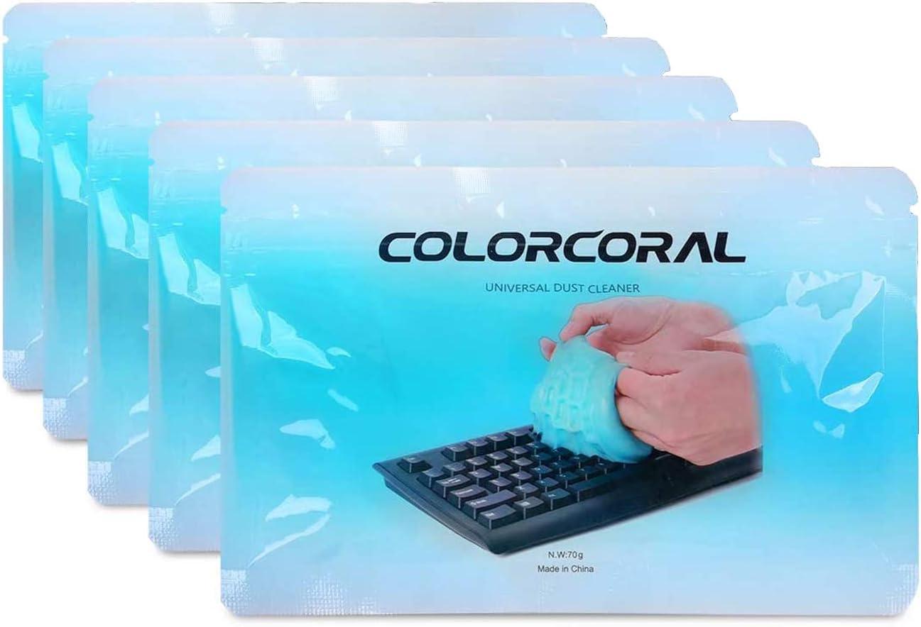 Masa limpiadora para teclado, coche, tableta, ordenador, coche, rejillas de ventilación, de gel (azul, 5 unidades)