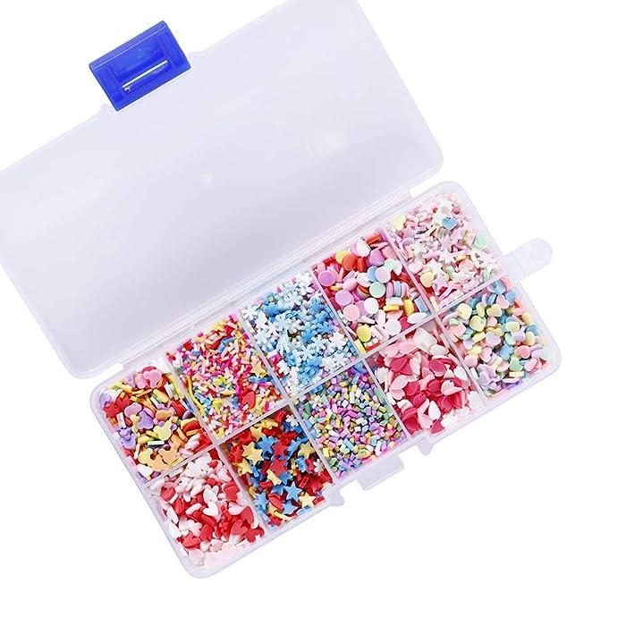 Fake Candy Sweets Sugar Sprinkles - 10 Packs of Colorful Ice Sprinkles Decorations for Slime Kit DIY Cake Dessert Simulation Food