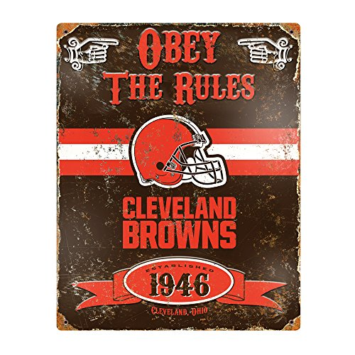 Party Animal NFL Embossed Metal Vintage Cleveland Browns Sign ()
