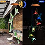 CXFF LED Solar Hummingbird Wind Chimes Outdoor - Waterproof LED Changing Light Color Wind Chime, Six Hummingbird Wind Chimes for Home, Party, Night Garden Decoration