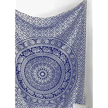SheetKart Elephant Mandala Traditional Small Wall Hanging Tapestry - Blue And White