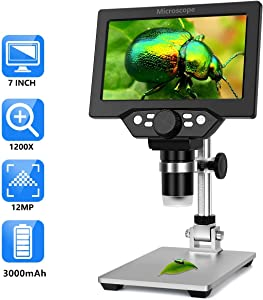 7 Inch LCD Digital Microscope,1-1200X Magnification Zoom HD 1080P USB Microscope,12MP Microscope Camera Video with 8 LED, Built-in 3000mAh Handheld Microscopes for Kids
