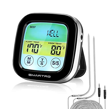 SMARTRO ST59 Digital Meat Thermometer for Oven BBQ Grill Kitchen Food Smoker Cooking with 2 Probes and Timer
