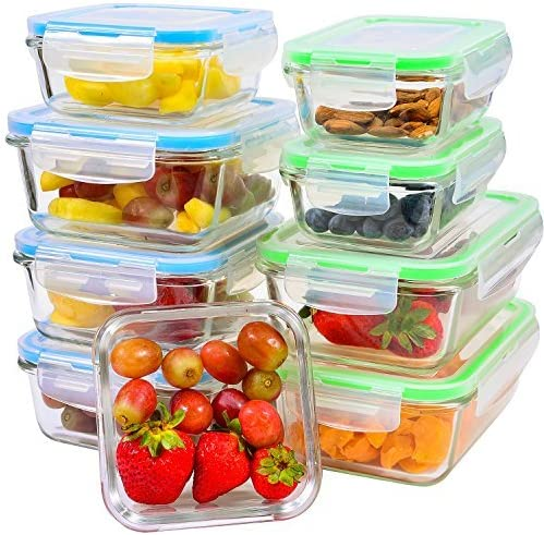 Glass Meal Prep Containers with Lids, 9 Piece Leakproof Food Storage  Container Set, 5 Different Portion Control Sizes with Airtight Lock,  Microwave, ...