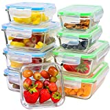 Glass Meal Prep Containers with Lids, 9 Piece Leakproof Food Storage Container Set, 5 Different Portion Control Sizes with Airtight Lock, Microwave, Freezer, Dishwasher-Safe Lunch Dishes