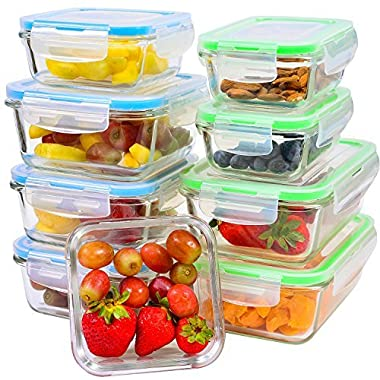 Glass Food Storage Containers [9-Piece] - Leakproof Glass Meal Prep Containers with Locking Lids for Pantry Organization and Storage - Microwave, Freezer & Dishwasher Lunch Containers!