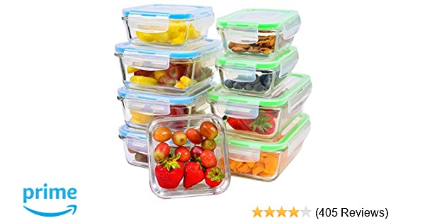 81fd8b940b Glass Food Storage Containers  9-Piece  - Leakproof Glass Meal Prep  Containers with Locking Lids for Pantry Organization and Storage -  Microwave
