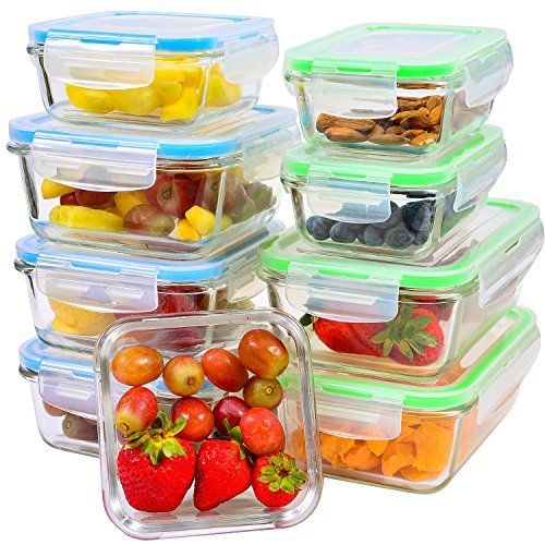 Glass Meal Prep Containers with Lids, 9 Piece Leakproof Food Storage Container Set, 5 Different Portion Control Sizes with Airtight Lock, Microwave, Freezer, Dishwasher-Safe Lunch Dishes ()