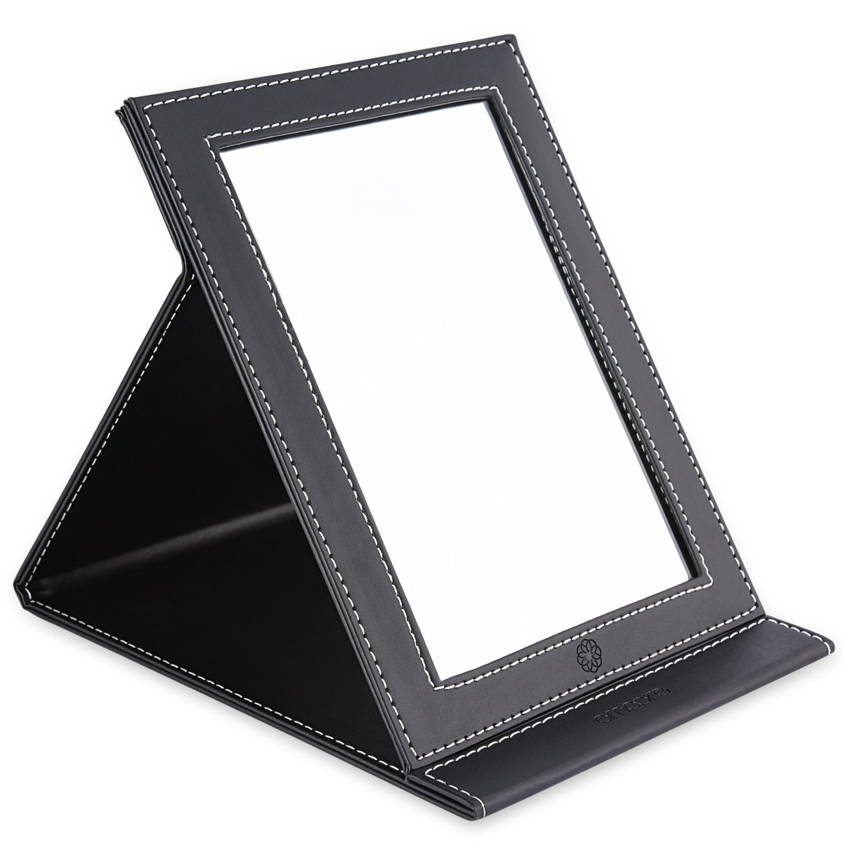 amoore Makeup Mirror Travel Mirror Vanity Mirror Folding Tabletop Mirror with PU Leather Cushioned Cover (Large, Black) BM-01