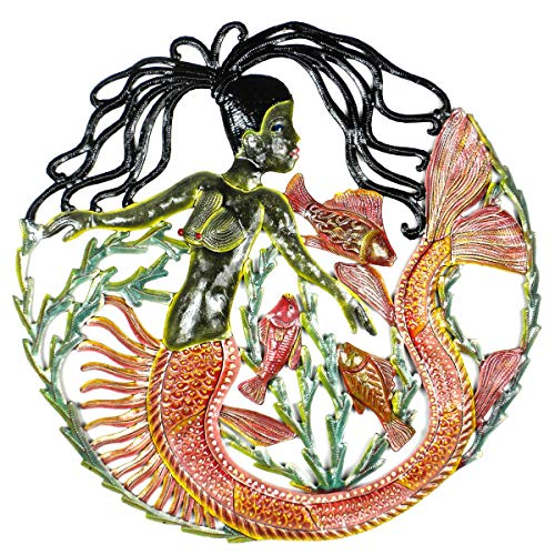 Mermaid Tail Figures Fish Under The Sea Sculpture Handcrafted Decor Metal Wall Art Hand Painted Decorative Contemporary Accent ()