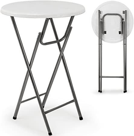 Deuba Folding Bar Table White Garden Table With Mdf Wood Effect Bistro Bar Table Amazon Co Uk Kitchen Home