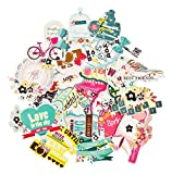 FaCraft Scrapbooking Supplies Ephemera Scrapbook Stickers Die-Cut Pack,Happy Birthday,25 Pieces Assorted Colors/Designs