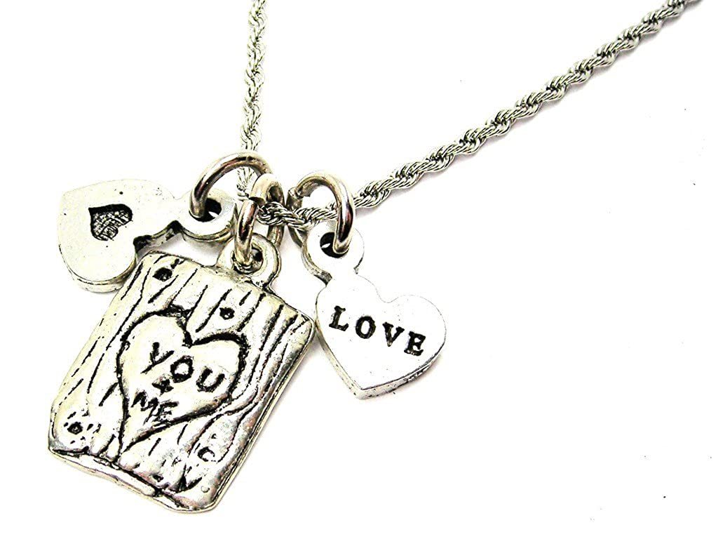 Chubby Chico Charms You And Me Carved Into A Tree 20 Stainless Steel Rope Chain Necklace
