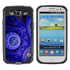 iKiki Tech / Estuche rígido - Wallpaper Blue Purple Drawing Art Design - Samsung Galaxy S3 I9300