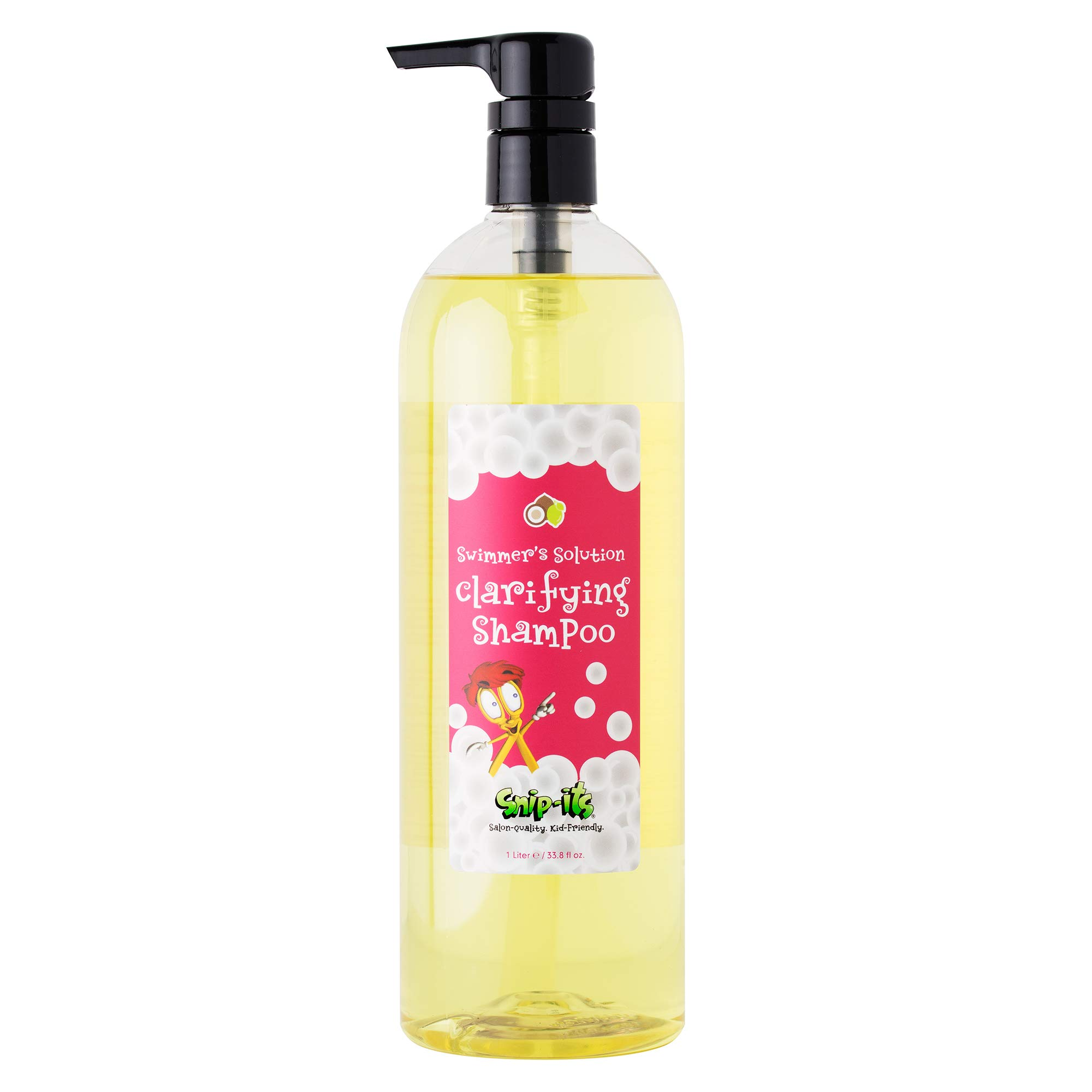 Snip-its Natural Swim Shampoo for Kids 1 Liter Pump-Top | Tear Free Shampoo for Kids - Shampoo for Chlorine Removal | Natural Swimmers Kids Shampoo Made in the USA | Salon Quality Kid Friendly by Snip-its