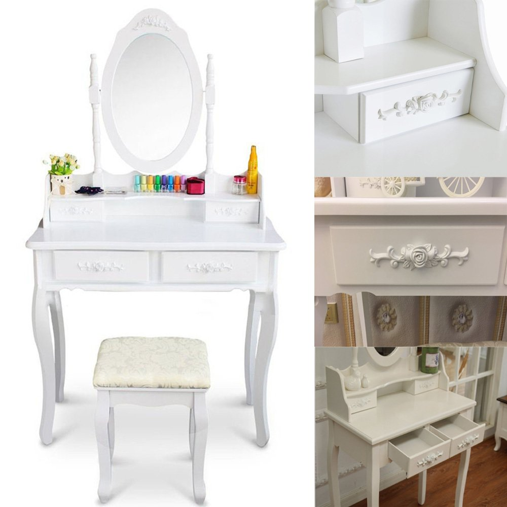 FCH Wooden White 4 Drawers Vanity Table Set Princess Vanity Makeup Table with Cushioned Stool by FCH (Image #3)